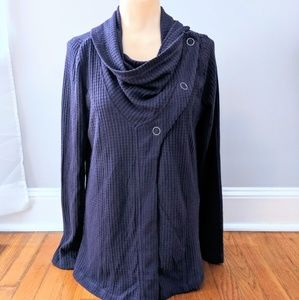 Maurices Waffle Knit Cowl Neck Button Sweater